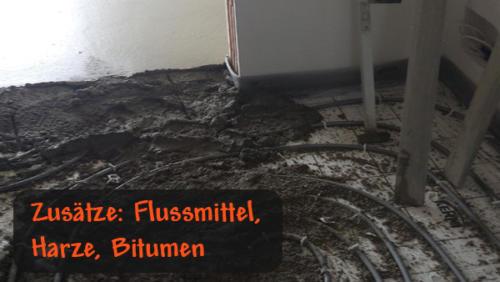 Zusätze: Flussmittel, Harz, Bitumen